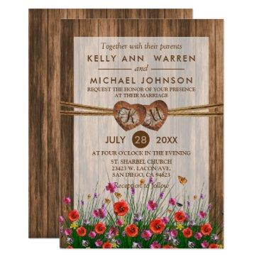 monogram wood hearts with beautiful wildflowers invitation