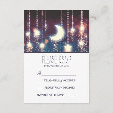 moon stars and string of lights wedding rsvp