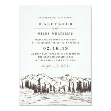 Small Mountain Sketch Wedding Invitation Front View