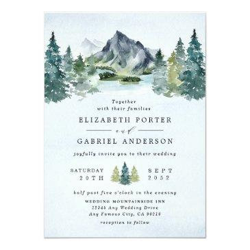 Small Mountain Watercolor Elegant Rustic Themed Wedding Invitation Front View