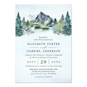 Small Mountain Watercolor Evergreen Rustic Tree Wedding Invitation Front View