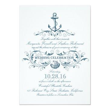Small Nautical Anchor And Seashell Beach Wedding Invites Front View