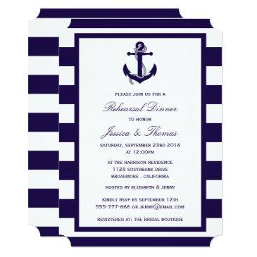 nautical anchor navy blue stripe rehearsal dinner