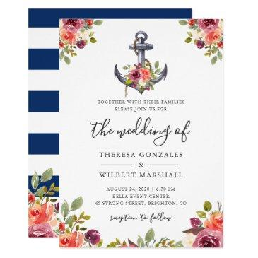 nautical floral anchor navy blue stripes wedding
