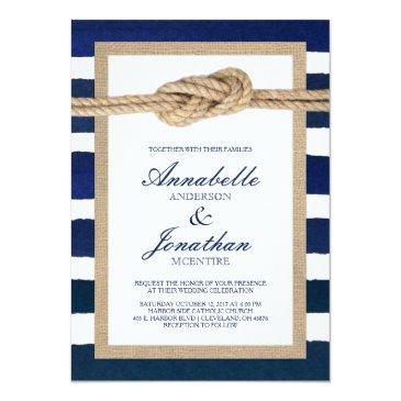Small Nautical Knot Burlap & Watercolor Navy Stripes Invitationss Front View