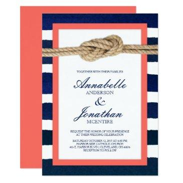 nautical knot coral & navy stripes wedding