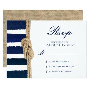 nautical knot & watercolor navy stripes rsvp