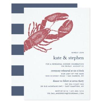 nautical lobster ceremony rehearsal dinner invite
