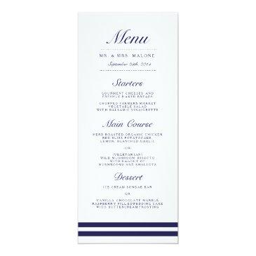 nautical navy wedding dinner menu