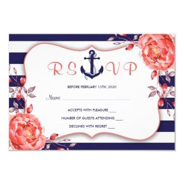 nautical stripe navy blue and coral wedding rsvp