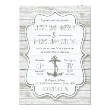 Small Nautical Whitewashed Wood Beach Wedding Collection Invitationss Front View