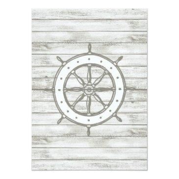 Small Nautical Whitewashed Wood Beach Wedding Collection Invitationss Back View
