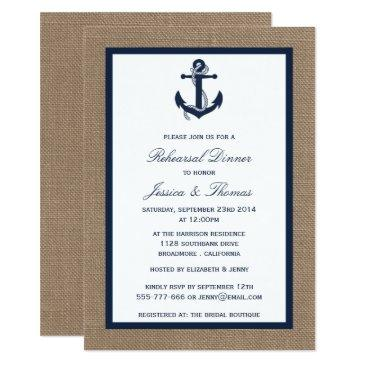 navy anchor on burlap nautical rehearsal dinner