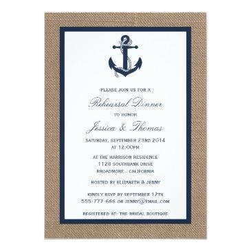 Small Navy Anchor On Burlap Nautical Rehearsal Dinner Invitation Front View