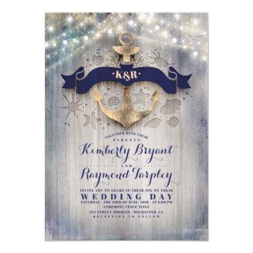 navy and gold nautical rustic anchor beach wedding