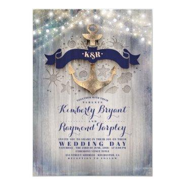 navy and gold nautical rustic anchor beach wedding invitations