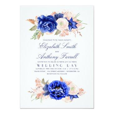 Small Navy And Pink Elegant Floral Wedding Invitation Front View