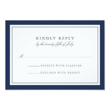 navy and white simple border wedding rsvp