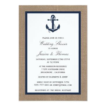 Small Navy Blue Anchor On Burlap Nautical Wedding Shower Invitation Front View