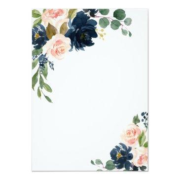 Small Navy Blue And Blush Pink Floral Country Wedding Invitation Back View
