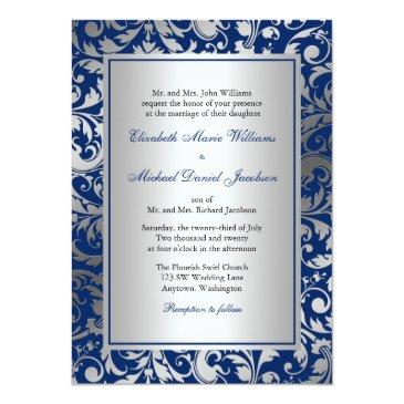 navy blue and silver damask swirls