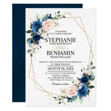 navy blue blush pink rose boho geometric wedding