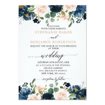 Small Navy Blue Blush Pink Rose Boho Wedding Invitation Front View