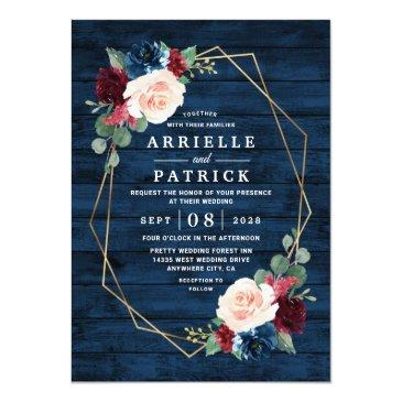 Small Navy Blue Burgundy Gold Blush Pink Country Wedding Invitation Front View