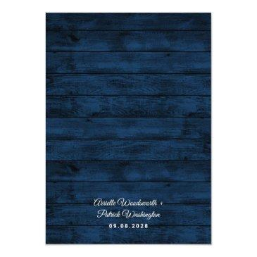 Small Navy Blue Burgundy Gold Blush Pink Country Wedding Invitation Back View