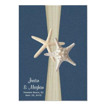 Small Navy Blue Burlap And Starfish Beach Wedding Front View