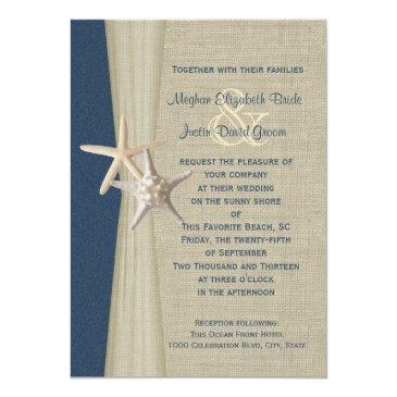 Small Navy Blue Burlap And Starfish Beach Wedding Back View
