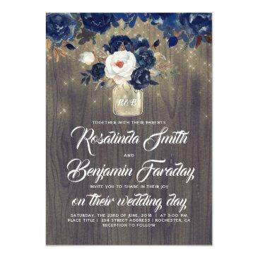 navy blue floral mason jar rustic wedding invitations