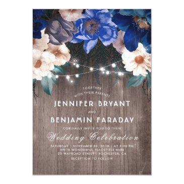 navy blue floral string lights rustic fall wedding