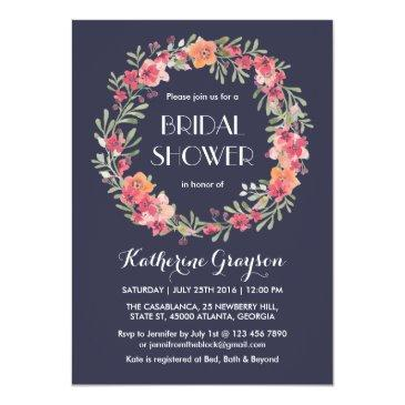 navy blue floral wreath bridal shower