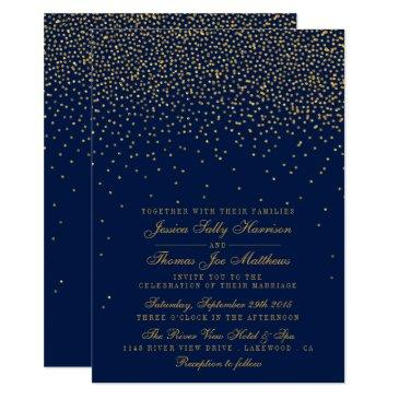 navy blue & glam gold confetti