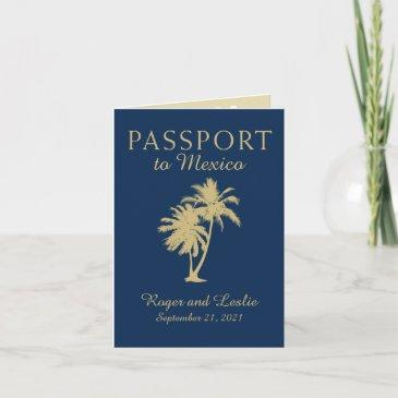 navy blue gold cancun mexico wedding passport invitations
