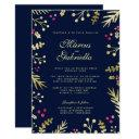 navy blue gold foil holly berry christmas wedding invitations