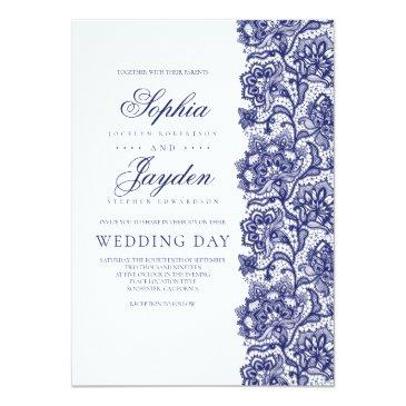 Small Navy Blue Lace Elegant And Modern Wedding Invitationss Front View