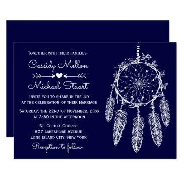navy blue native american dream catcher wedding invitations