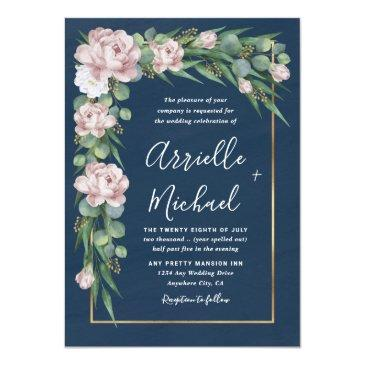 Small Navy Blue & Pink Dusty Rose Greenery Gold Wedding Invitation Front View