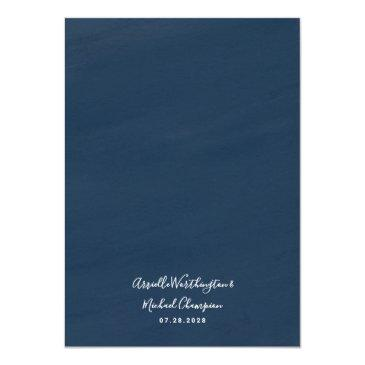 Small Navy Blue & Pink Dusty Rose Greenery Gold Wedding Invitation Back View