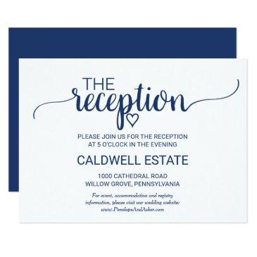 navy blue simple calligraphy reception insert card