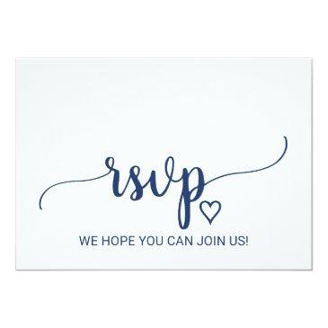 Small Navy Blue Simple Calligraphy Song Request Rsvp Invitationss Front View