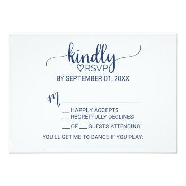 Small Navy Blue Simple Calligraphy Song Request Rsvp Back View