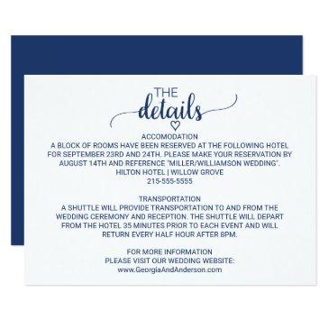 navy blue simple calligraphy wedding details