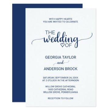 navy blue simple calligraphy wedding