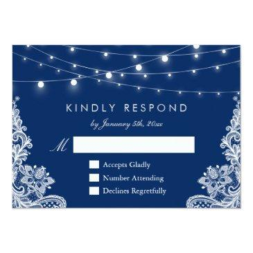 Small Navy Blue String Lights Lace Wedding Rsvp Reply Invitationss Front View