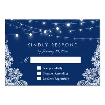navy blue string lights lace wedding rsvp reply