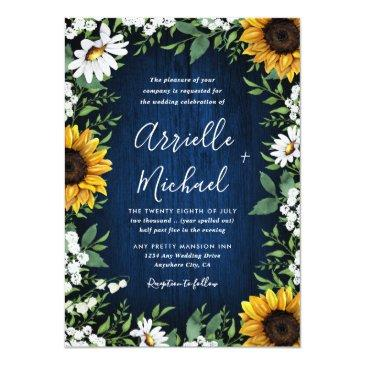 Small Navy Blue Sunflower Rustic Wedding Front View