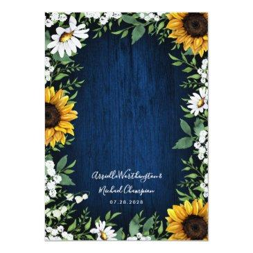 Small Navy Blue Sunflower Rustic Wedding Back View
